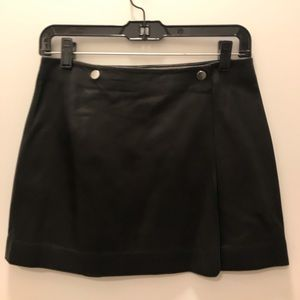 Theory Black Leather Wrap Skirt